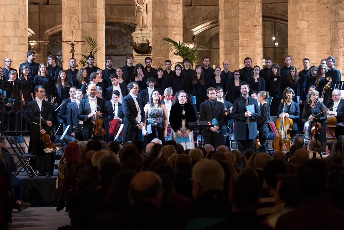 Els solistes Ana Puche, Anna Tobella, David Hernández i Elías Benito van participar en el concert, sota la direcció d'Albert Santiago. Foto: Lars Isdahl.