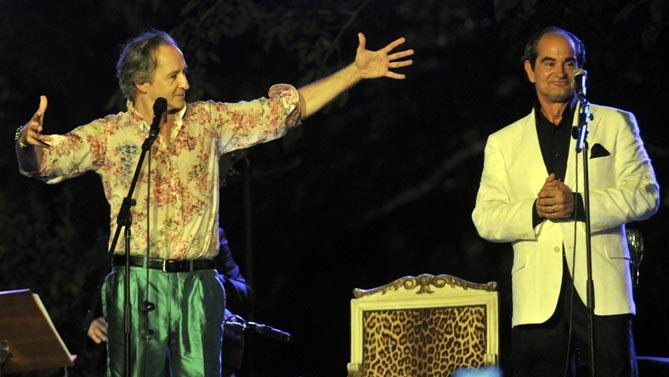 Instant de l'actuació d'Stefano Palatchi i Alfonso de Vilallonga al Cotton Chill Out del Festival de Peralada 2014. © www.festivalperalada.com