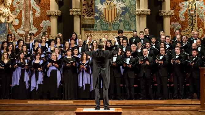 L'Orfeó Català i del Cor de Cambra del Palau al Palau de la Música Catalana. © Lorenzo di Nozzi