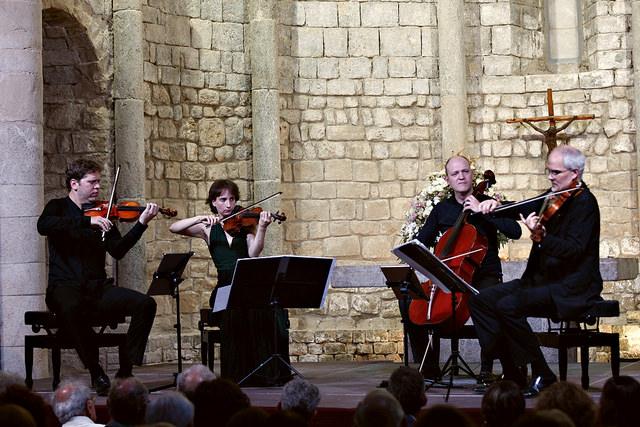 El Quartet Casals iniciava els actes del vintè aniversari de la seva fundació amb la integral de quartets de Beethoven a la Schubertiada a Vilabertran. Foto: westudio photo&video