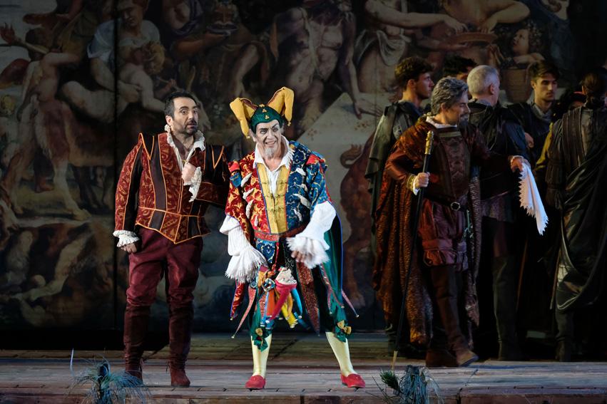 Leo Nucci i Gianluca Terranova, Rigoletto i Duc de Màntua a l'òpera de Verdi. Foto: ©Ph Ennevi. Courtesy of Fondazione Arena di Verona